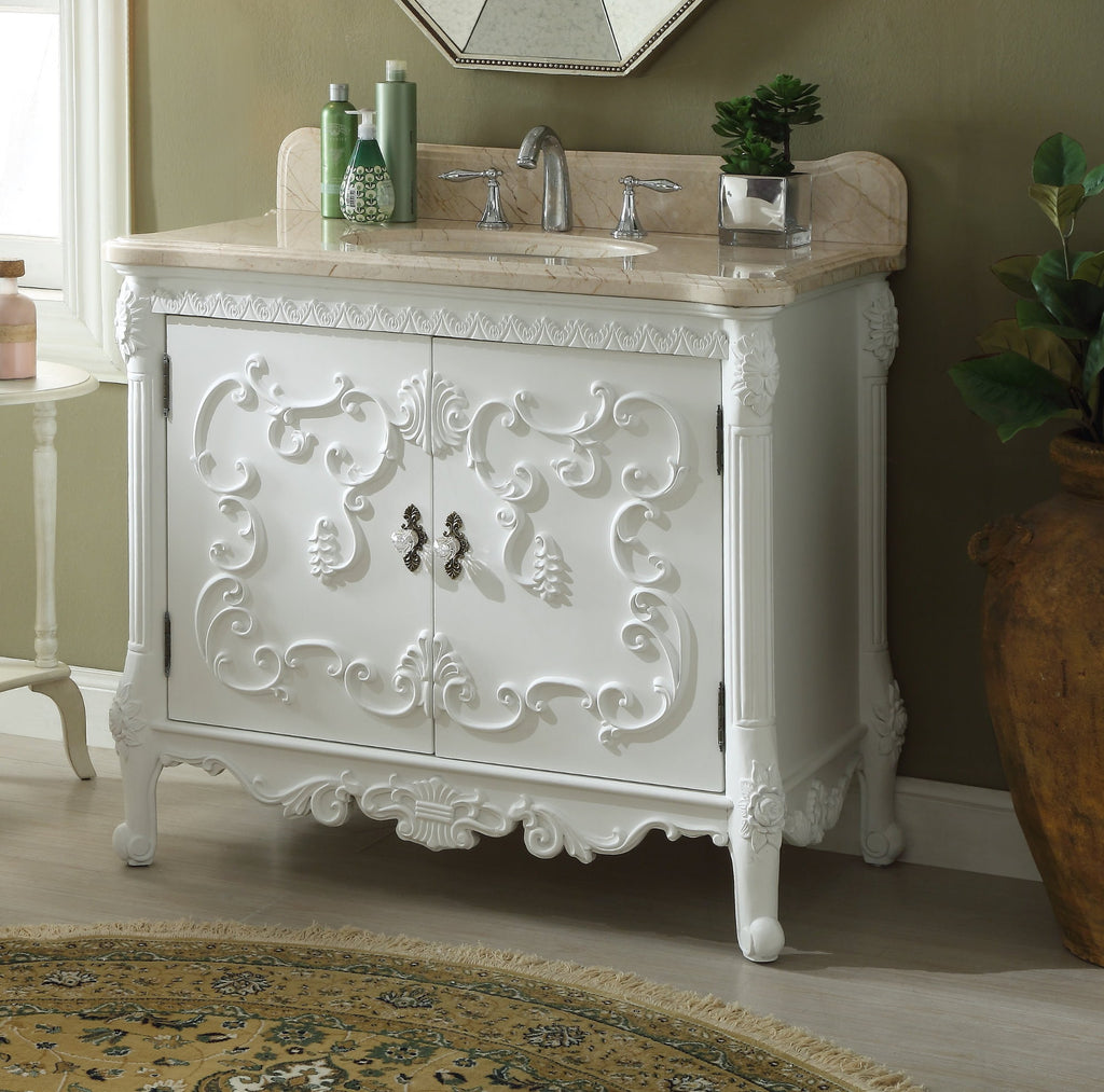 "40"" Rising Sun Beige Marble Top Bellissimo Bathroom Sink Vanity model #  HF-1091B - Chans Furniture - 1"