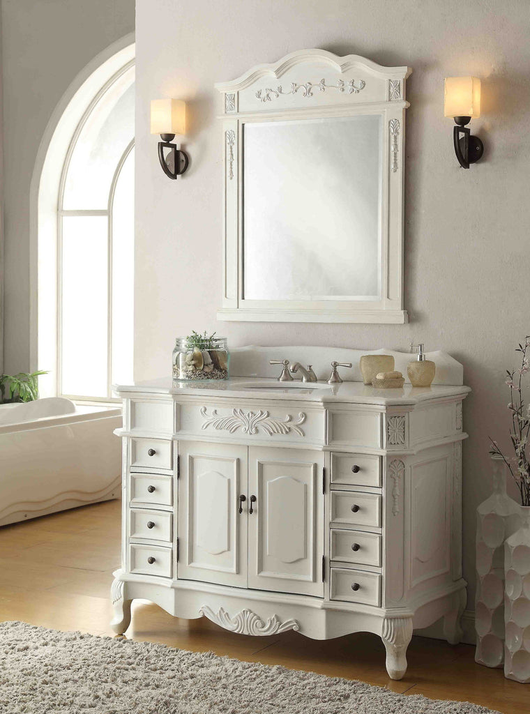 "48"" Antique white Morton Vanity & Mirror Set - HF-2815W-AW-48-MIR-2815 - Chans Furniture - 1"