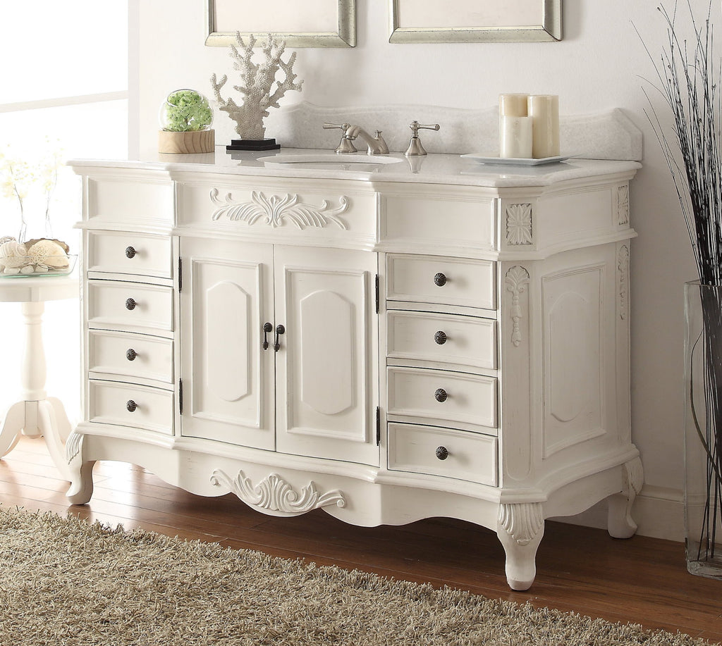 "56"" Antique white Morton Bathroom Sink Vanity - HF-2815W-AW-56 - Chans Furniture - 1"