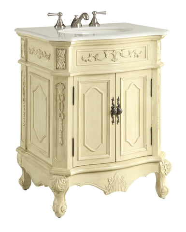 "27"" Petite Powder Room Beige Color Spencer Bathroom Sink Vanity HF-3305W-LT-27 - Chans Furniture - 1"