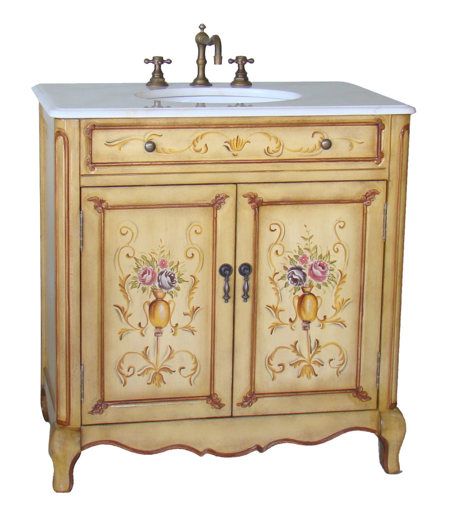 "32"" Hand Painted Foral design Camarin Bathroom Sink Vanity   HF2263 - Chans Furniture - 1"