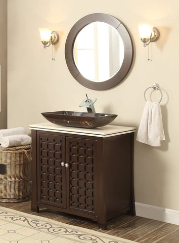 "30"" Vessel Sink Giovanni Bathroom Vanity & Mirror HF339A - Chans Furniture - 1"