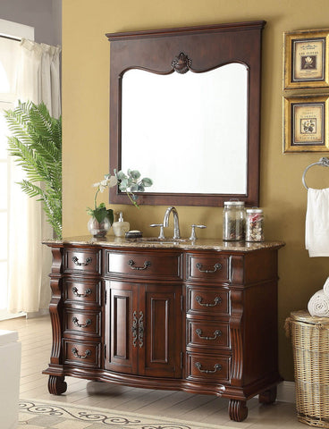 "50"" Traditional Classic Hopkinton Bathroom Sink Vanity w/matching miror  GD-4437BN-50MIR - Chans Furniture - 1"