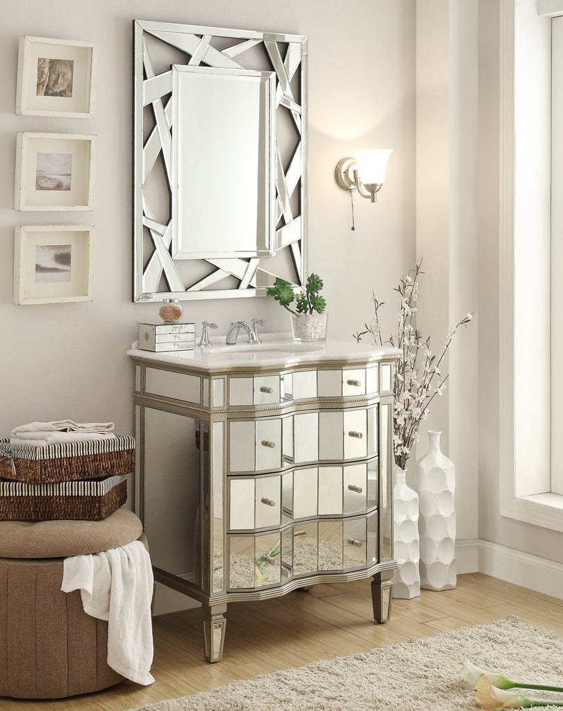 "30"" Mirror Reflection Asselin Bathroom Sink Vanity & Mirror Set #K2274-30/2206 - Chans Furniture - 1"
