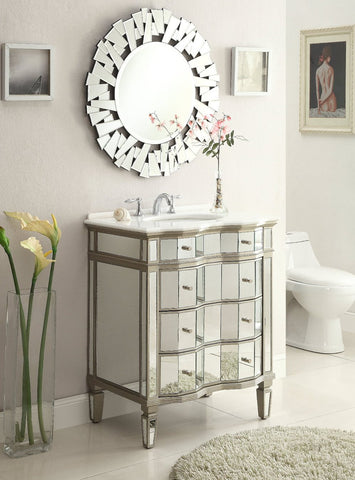 "30"" Mirror Reflection Asselin Bathroom Sink Vanity & Mirror Set  K2274-30/3036 - Chans Furniture - 1"