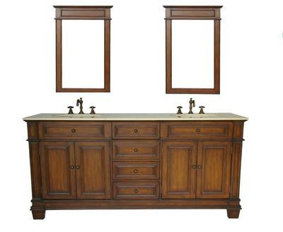 "70"" Timeless Classic Sanford Double Sink Bathroom Vanity & Mirrors Set # CF-3048M-70MIR - Chans Furniture - 1"