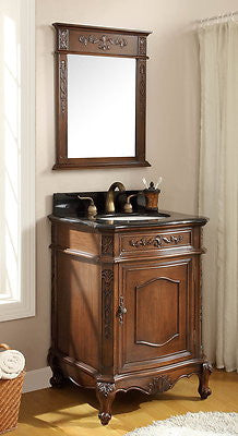 "24"" Classic Petite Powder Room Debellis Bathroom Sink Vanity & Mirror Set Model #  BWV-047GT-MIR - Chans Furniture - 1"