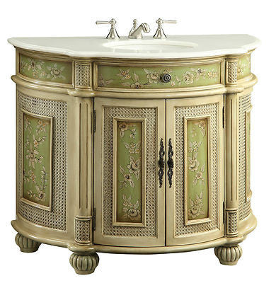 "41"" Hand Paint Floral Design Greenville Bathroom Sink Vanity HF2809W - Chans Furniture - 1"