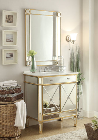 "32"" Mirror Reflection Austell Bathroom Sink Vanity & Mirror Set  YR-504GC/1002GC - Chans Furniture - 1"