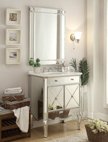 "30"" Mirror reflection Adelisa Bathroom Sink Vanity & Mirror Set   5106SL/MR-1002SC - Chans Furniture - 1"