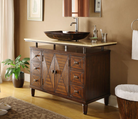 "48""  Onyx counter top Verdana Vessel Sink Bathroom Vanity  Model #  Q0136-8X - Chans Furniture - 1"