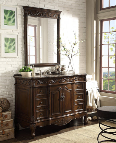 "48"" Baltic Brown Granite counter top Beckham Bathroom Sink Vanity & Mirror Set  SW-3882SB-TK-48/MR-3882 - Chans Furniture - 1"