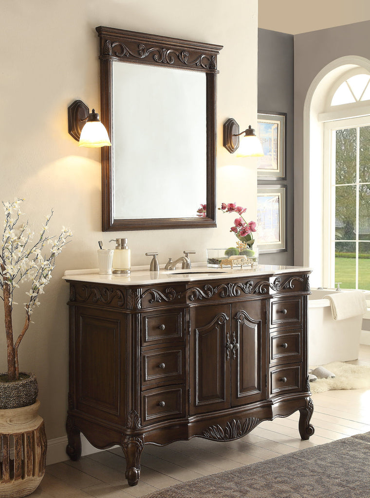 "42"" Classic Design White Marble Beckham Bathroom Sink Vanity & Mirror Set  SW-3882W-TK-42/MR-3882 - Chans Furniture - 1"