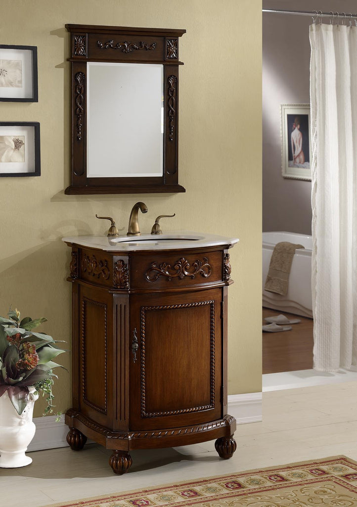 "24"" Powder Room Bathrrom Sink Vanity & Mirror set, Camelot  - BWV-048W-MIR - Chans Furniture - 1"
