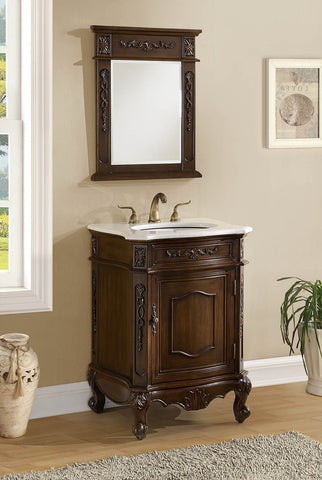 "24"" Classic Petite Powder Room Debellis Bathroom Sink Vanity & Mirror Set Model # BWV-047W-MIR - Chans Furniture - 1"