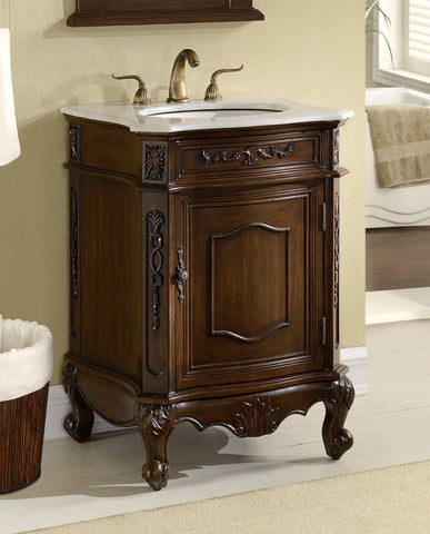 "24"" Classic Petite Powder Room Debellis Bathroom Sink Vanity & Mirror Srt Model # BWV-047W - Chans Furniture - 1"