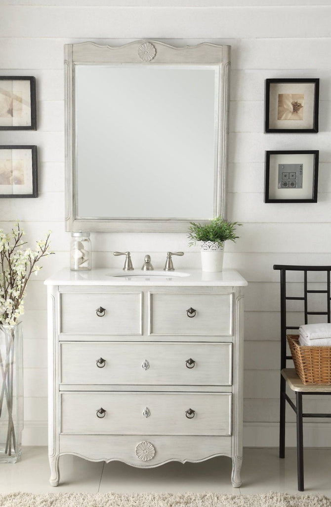 "34"" Causal Style Daleville Bathroom Sink Vanity & Mirrors Set HF081CK-MR-832CK - Chans Furniture - 1"
