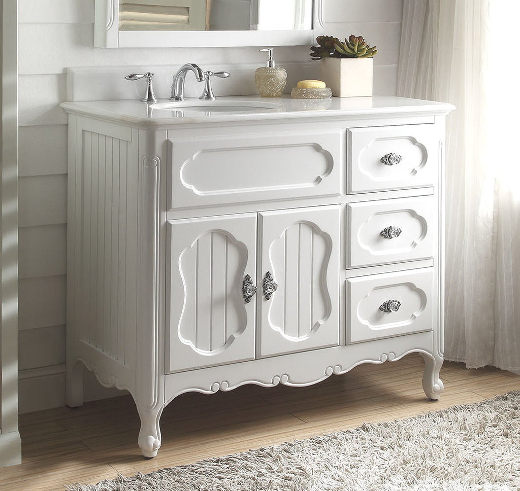 "42"" Victorian Cottage Style White Knoxville Bathroom sink vanity Model GD-1509W-42 - Chans Furniture - 1"