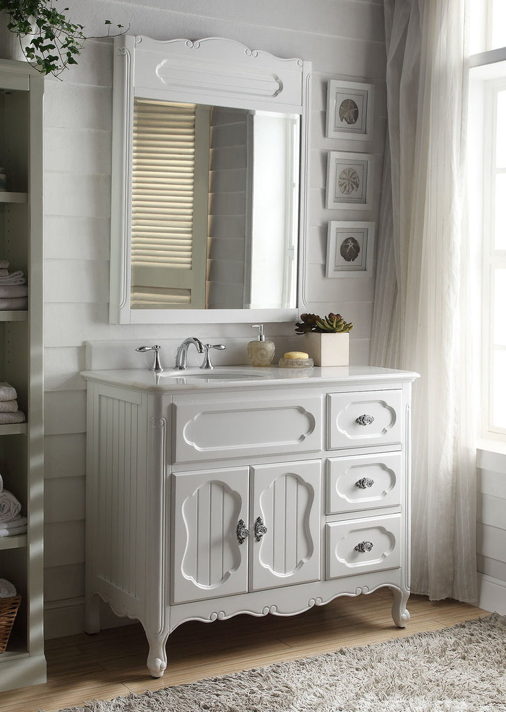 "42"" Victorian Cottage Style Knoxville Bathroom sink vanity Model GD-1509W-42BS-MIR - Chans Furniture - 1"