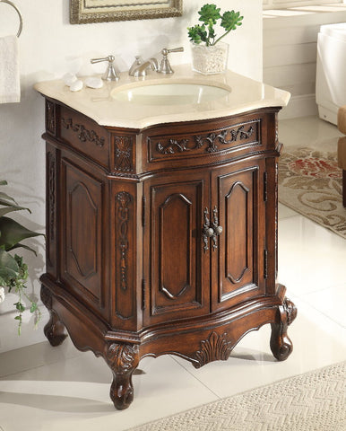 "27"" Powder Room Classic Style Spencer Bathroom Sink Vanity   Model # HF-3305M-TK-27 - Chans Furniture - 1"