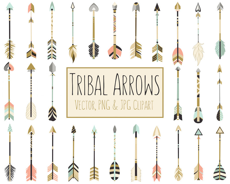 Tribal Arrows Digital Clipart Set in Coral, Navy, Mint, & Gold