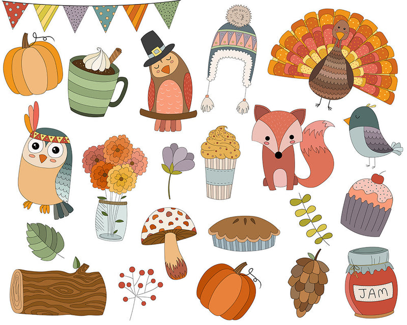 Scandinavian Style Clipart - Cute Animals, Mountains, and Design Elements Digital Clip Art