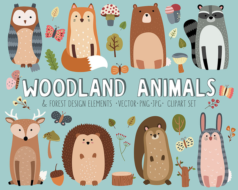 Woodland Forest Animals Digital Clipart Set - Volume 4