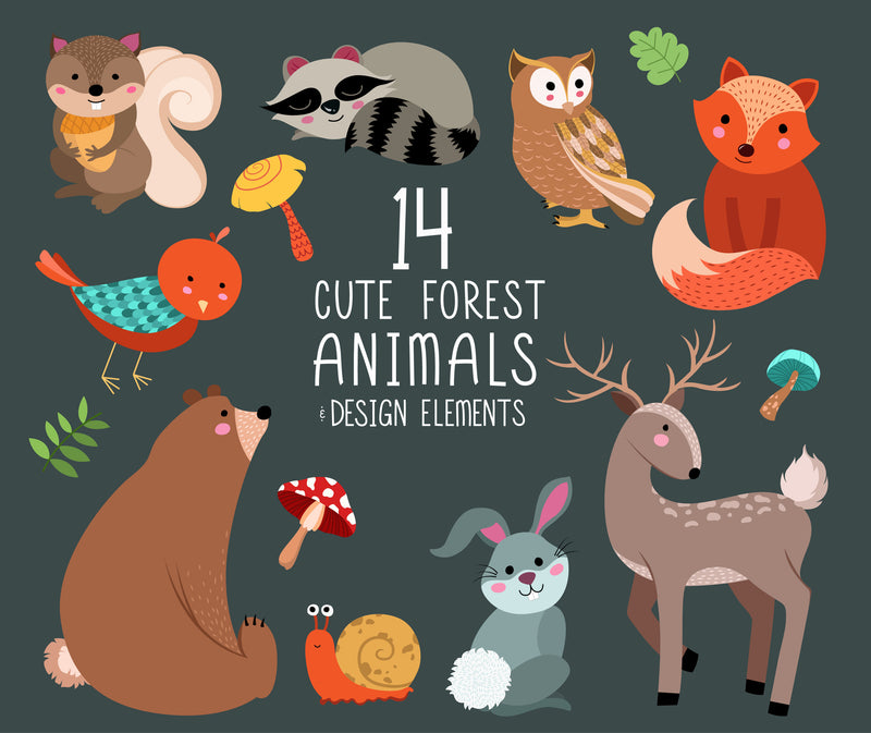 Cute Forest Animals Digital Clipart Set - Woodland Animal Clip Art
