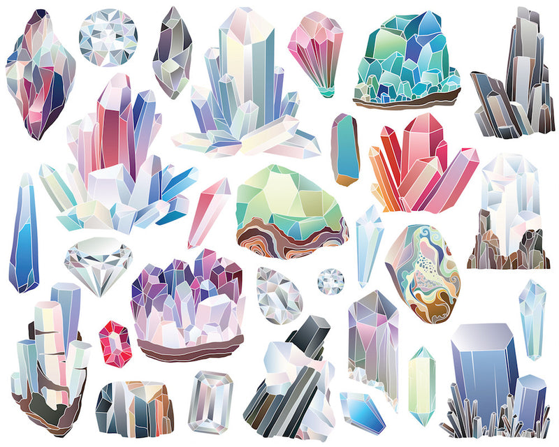 Crystals, Diamonds, and Minerals Digital Clipart Set