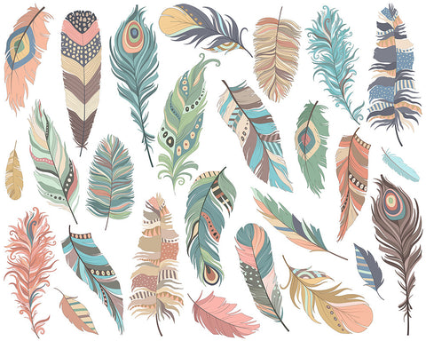 Tribal Feathers Digital Clipart