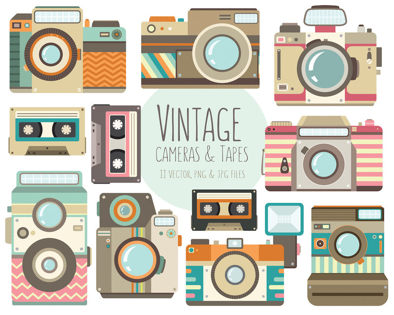 Vintage Cameras and Retro Tapes Digital Clipart - Unique Hipster Photography Clipart Illustration