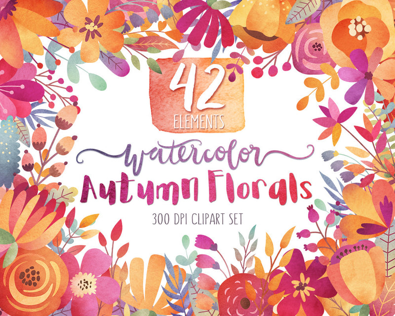 Autumn Watercolor Florals Clipart