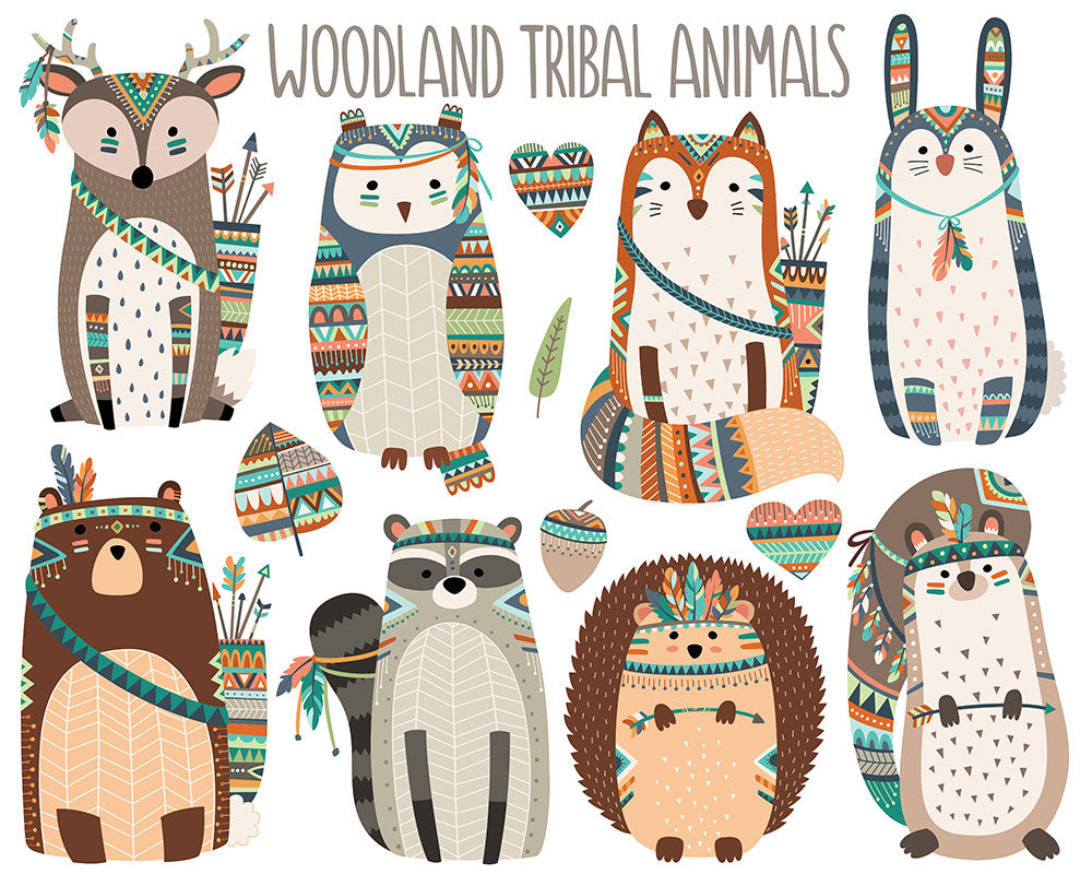 Woodland Tribal Animals Clipart Volume 3