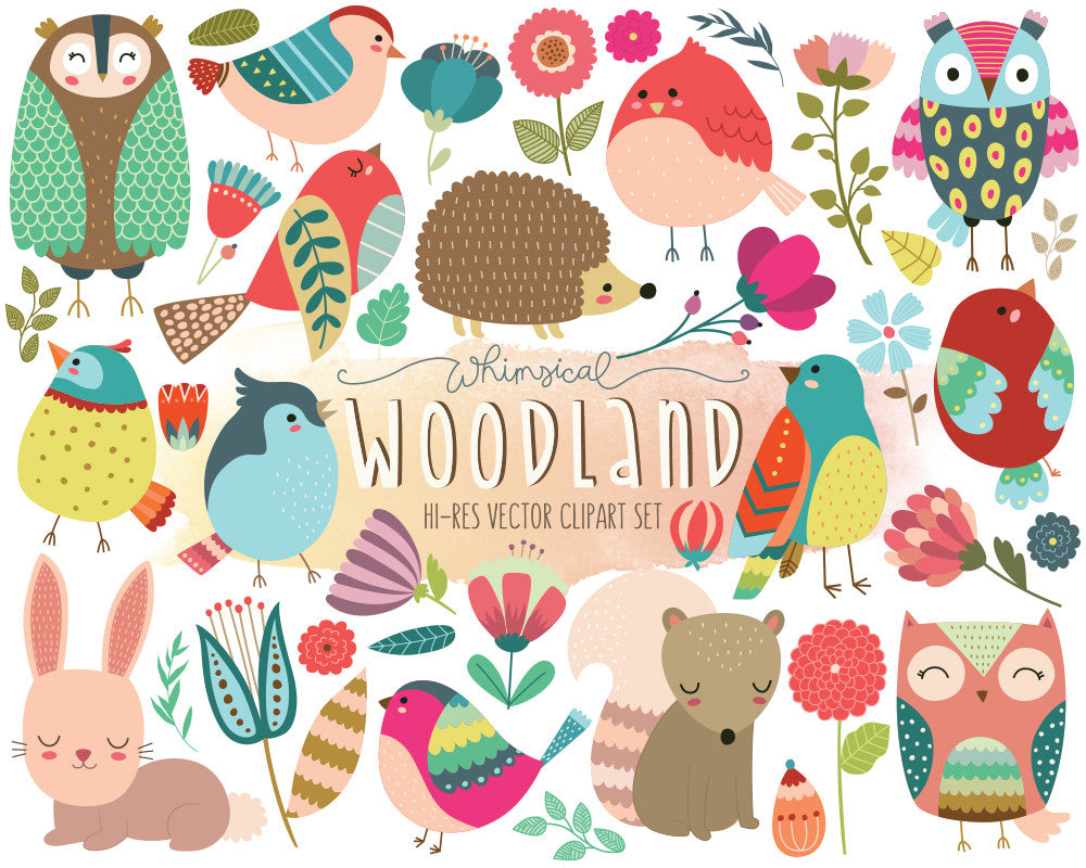 Whimsical Woodland Birds, Animals, and Florals Digital Clipart