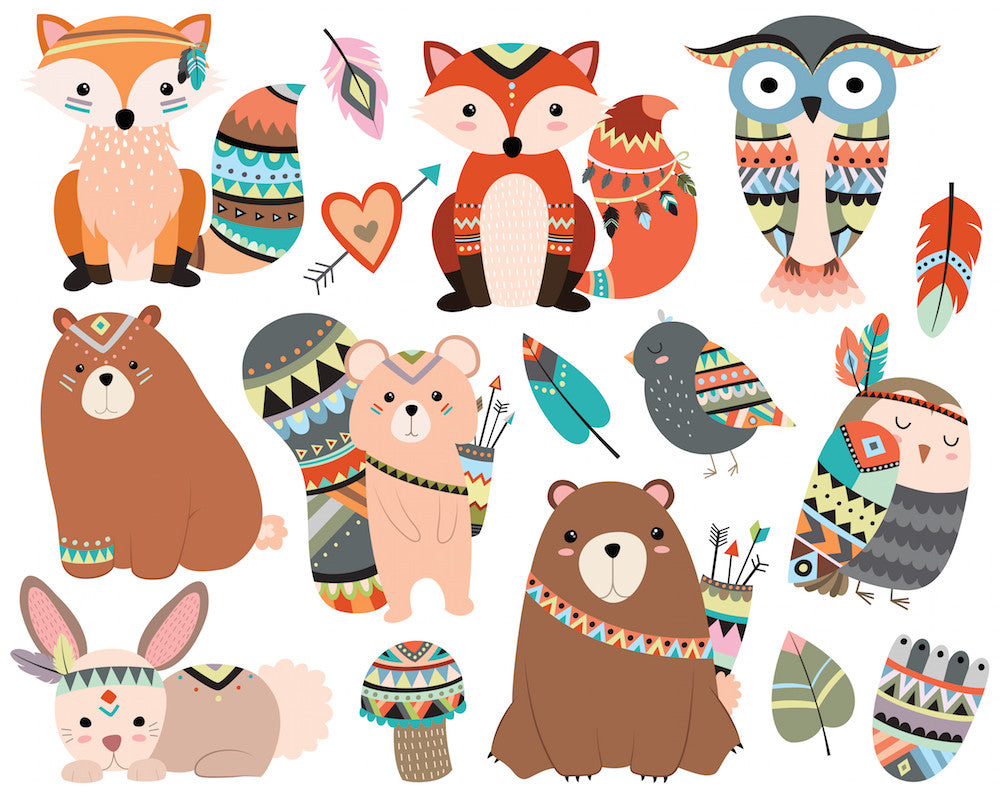 Woodland Tribal Animals Clipart Volume 1