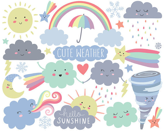 Weather Clipart - Cute Clipart, Cloud Clipart, Spring Clipart, Kawaii Clipart Set, Adorable Digital Clip Art!
