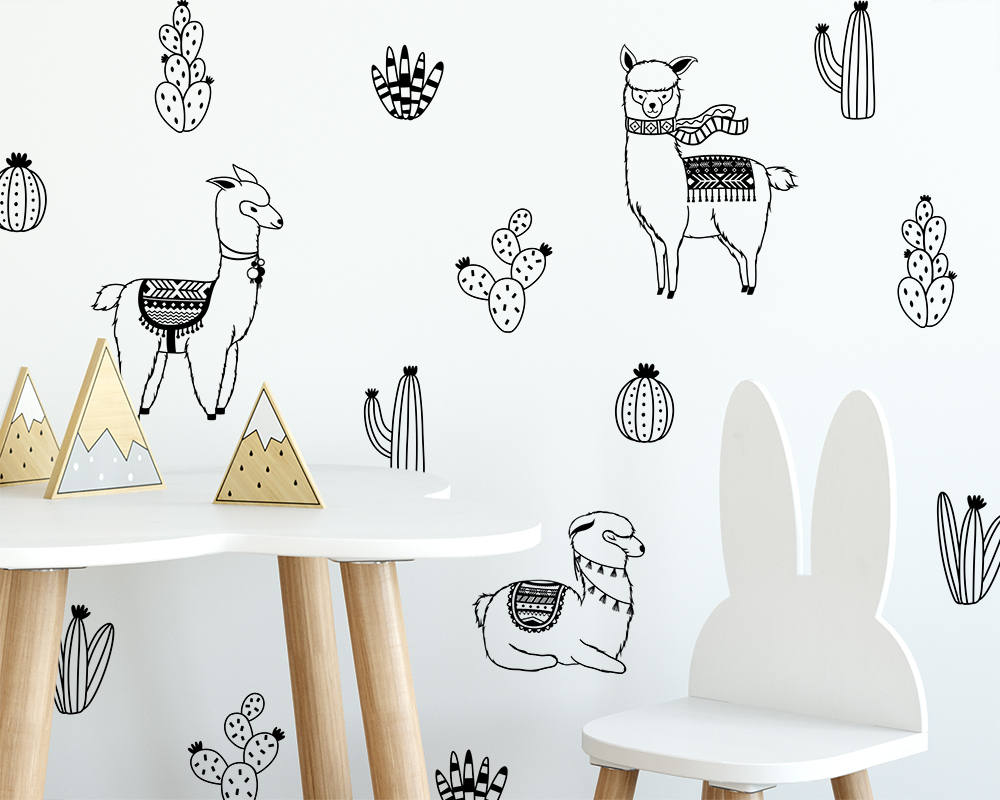 Alpacas and Cacti Wall Decals