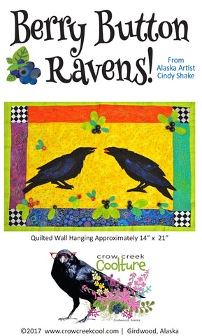 Quilted Wall Hanging Pattern - Berry Button Ravens!