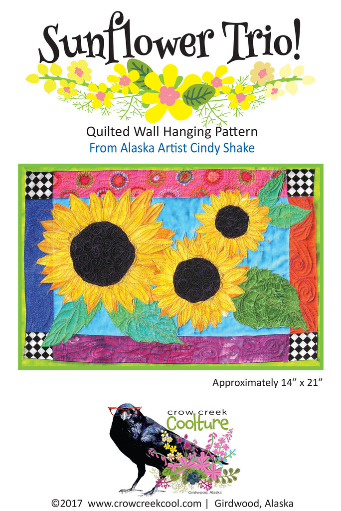 Quilted Wall Hanging Pattern - Sunflower Trio!