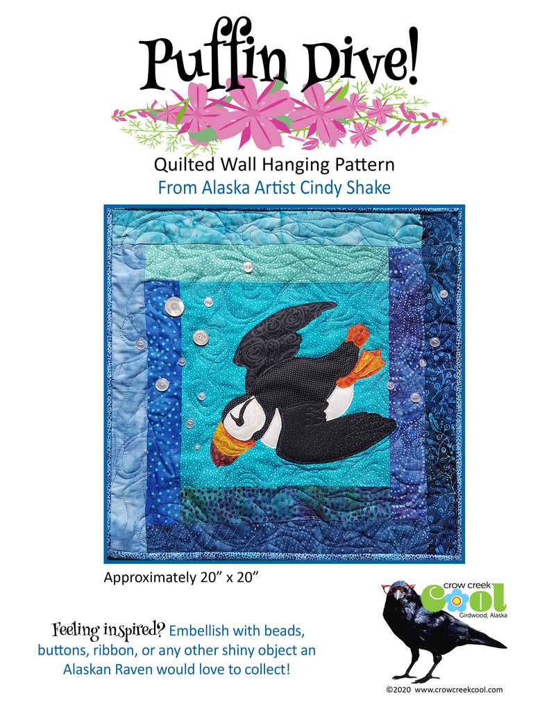 Puffin Dive - Digital Download Quilted Wall Hanging Pattern