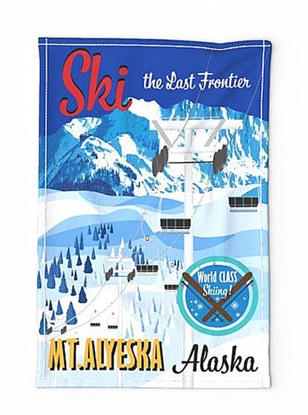 Retro Style Ski Mt. Alyeska Tea Towel