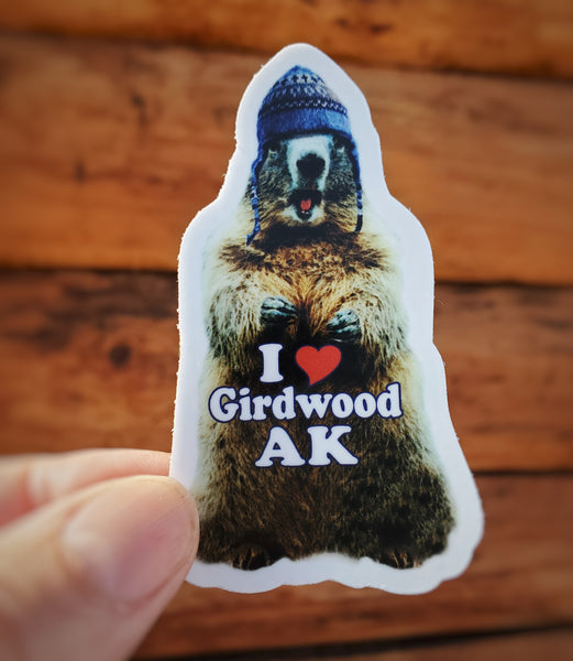 Mini Wooly Marmot Sticker - White