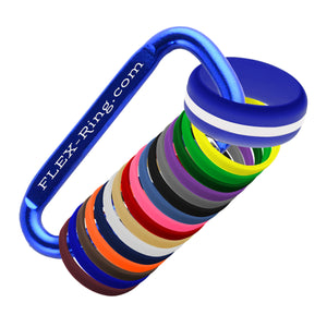 Mens Blue Silicone Ring with Changeable Color Bands Combo Pack