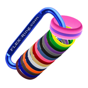 Mens Hot Pink Silicone Ring with Changeable Color Bands Combo Pack