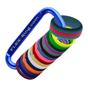 Mens Steel Blue Silicone Ring With Changeable Color Bands Combo Pack