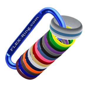Mens Silver Silicone Ring with Changeable Color Bands Combo Pack