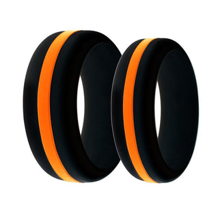 Search and Rescue EMS Mens and Womens Silicone Ring Black With Thin Orange Line Changeable Color Band