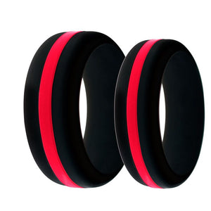 Mens and Womens Firefighter Silicone Ring Black With Thin Red Line Changeable Color Band