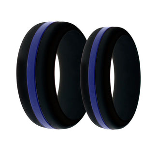 Mens and Womens Police Law Enforcement LOE Silicone Ring Black With Thin Blue Line Changeable Color Band