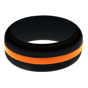 Mens Black Silicone Ring with Orange Changeable Color Band